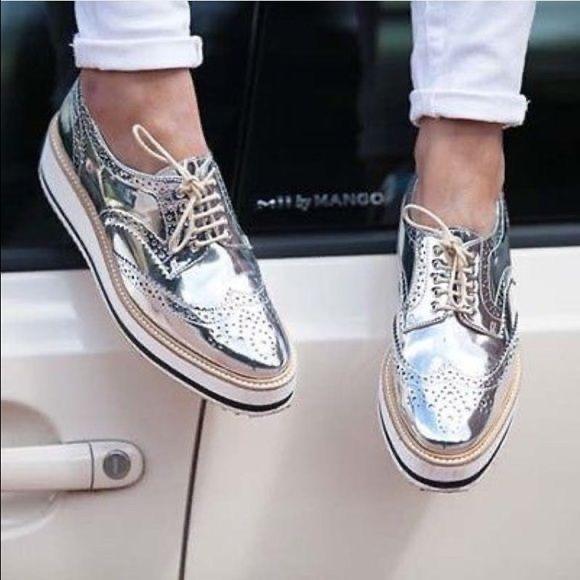 . Zara woman silver platform shoes , beautiful